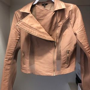 Skin tone leather jacket